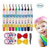 Hair Chalk for Kids Girls, iTrunk Temporary Hair Chalk Pens 10 Colorful Face Paint Kit, Washable Hair Dye Chalk Non-Toxic Hair Color Chalk-Perfect Birthday Present Gifts for Girls Age 4-11 Years Old