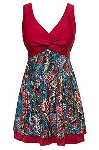 Surenow Women's Modest Vintage V Neck One Piece Floral Swim Dresses Swimsuit