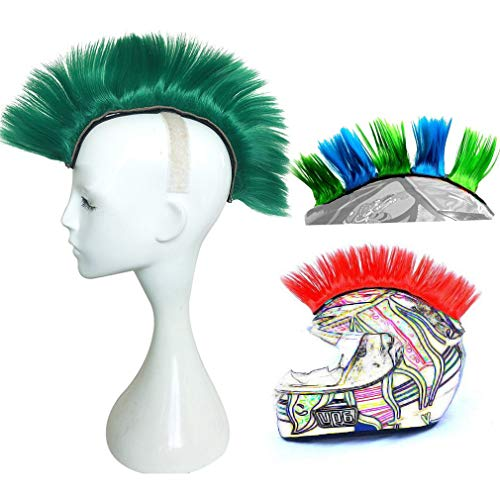 3T-SISTER Helmet Mohawk Wig Motorcycle Adhesive Mohawk Hair Patches Skinhead Costumes Wig (Deep Green)