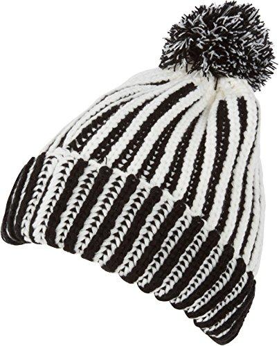 Sakkas CADK1517 - Rhea Unisex Heathered Multi Colored Stripe Pom Pom Beanie Hat - Black - OS