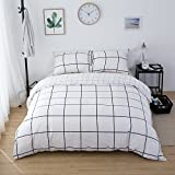 CLOTHKNOW White Balck Grid Plaid Bedding Sets Queen for Boys Teens Girls Duvet Cover Sets Full Checkered Geometric 100 Cotton Simple Style 3 Pieces -1 Duvet Cover with Zipper Closure 2 Pillow Sham