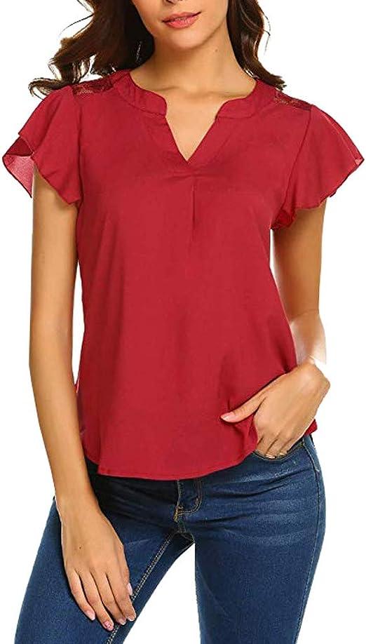 Feibeauty Camisa de Mujer Informal V-Neck Tops de Muselina de Seda de Manga Corta con Encaje Rojo Rojo S: Amazon.es: Jardín
