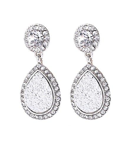 (NLCAC Tear Drop Earrings Glitter Double Rows Drop Dangle Earrings for Women (druzy silver))