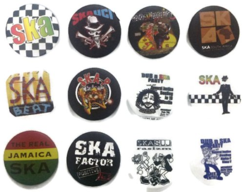 - SKA Jamaica fan 2 Awesome Quality Lot 12 New Pins Pinbacks Buttons Badge 1.25