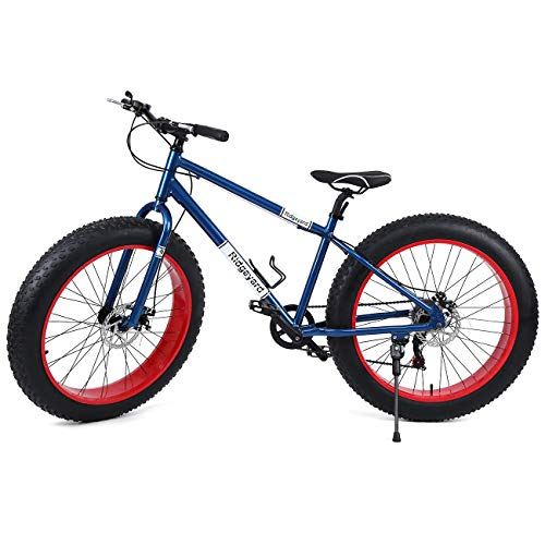 🥇 Ridgeyard 26″ 7 Velocidad fat bike bicicleta de montaña Cruiser bike Bicicleta Paseo deporte playa viajes
