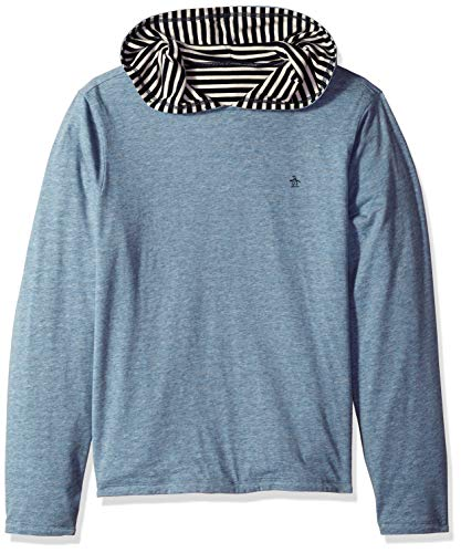 Penguin Jersey Sweater - Original Penguin Men's Long Sleeve Reversible Tee, Faded Denim Hoodie, L