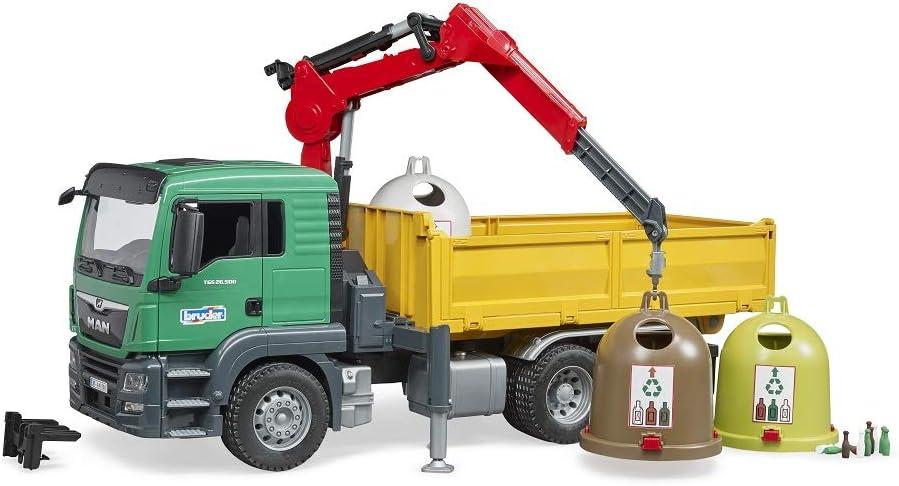bruder- Camiones MAN TGS con grúa de carga y contenedor de cristal antiguo, Multicolor (03753) , color/modelo surtido