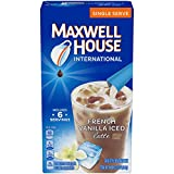 Maxwell House International French Vanilla Iced Latte Cafe-Style Beverage Mix, Caffeinated, 6 - 0.57 Ounce Packets (Pack of 8)