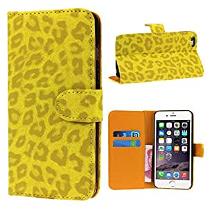 Bessky 1pc Cool Leopard Case!5.5inch Leopard Wallet Leather Hard Case Cover for iphone 6 (Gold)