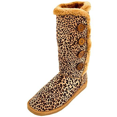 Arnina Kvinna Faux Päls Knapp Upp Vinterkängor Leopard