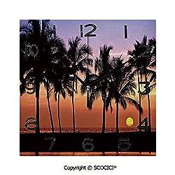 SCOCICI Print Square Wall Clock, 8 Inch Hawaiian Sunset On Big Island Anaehoomalu Bay Tropic Horizon Ocean Romantic Resort Decorative Quiet Desk Clock for Home,Office,School