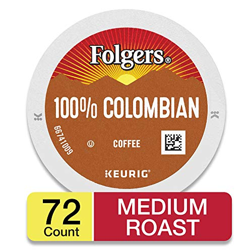 Folgers K Cups 100% Colombian Coffee for Keurig Makers, Medium Roast, 72 Count