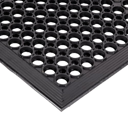 NoTrax Rubber 562 Sanitop Anti-Fatigue Drainage Mat, for Wet Areas, 3' Width x 10' Length x 1/2'' Thickness, Black by NoTrax