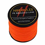 Hercules 300m 328yds Orange 6lbs-100lbs Pe Dyneema Braid Fishing Line 4 Strands (90lb/40.8kg 0.50mm)