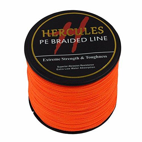 Hercules 300m 328yds Orange 6lbs-100lbs Pe Dyneema Braid Fishing Line 4 Strands (90lb/40.8kg 0.50mm)