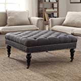 Linon Isabelle Square Tufted Ottoman Gray