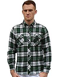 Allegra K Men Plaids Flannel Shirt w Flap Pockets