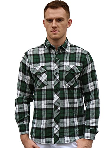 [uxcell Mens Long Sleeves Check Print Casual Plaid Flannel Shirt Green L] (Green Plaid Flannel Shirt)