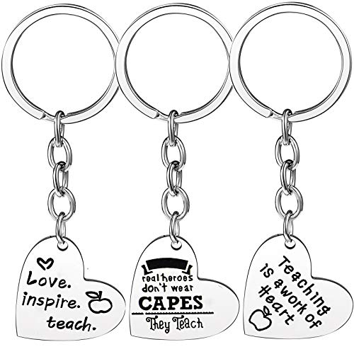 Nzztont Pack of 3 Teacher Bangles Gifts for Teacher Open School Gifts for Teachers Thank You Bangle Bracelets (3PCs Keychain Heart Mixed Style 16)