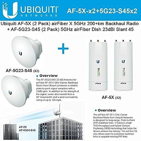 Ubiquiti AF-5X (x2) 5 GHz 200 + km + antena AF-5G23-S45 (x2 ...