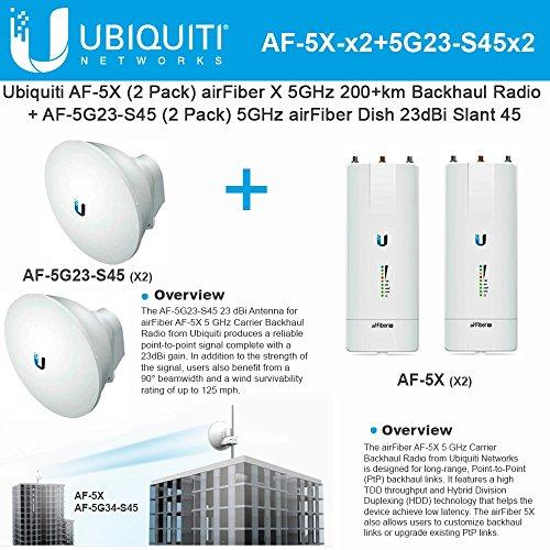 Ubiquiti airFiber AF-5X (x2) 5GHz 200+km + Antenna AF-5G23-S45 (x2) 23dBi 5GHz by Ubiquiti Networks