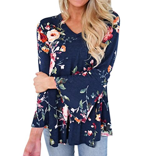 Women Casual Floral Printing Long Flare Sleeve V Neck Tunic T-Shirt Top S- 5XL (2XL, Blue)