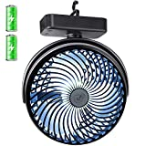 REENUO 7-Inch Camping Fan with Led Lights Portable 4400mAh Rechargeable Battery Powered Tent Fan for Hurricane, Emergency, Storm, Outdoor