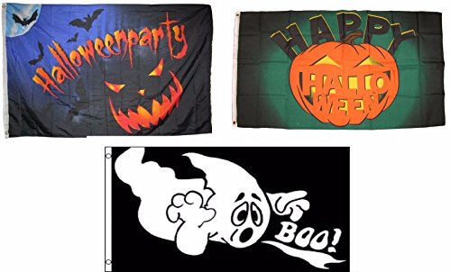 (ALBATROS 3 ft x 5 ft Happy Halloween 3 Pack Flag Set #81 Combo Banner Grommets for Home and Parades, Official Party, All Weather Indoors Outdoors)