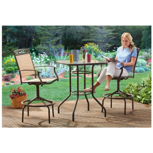 CASTLECREEK 3 Piece Patio Bistro Dining Set Bar Height (Patio Bar Height Sets Dining)