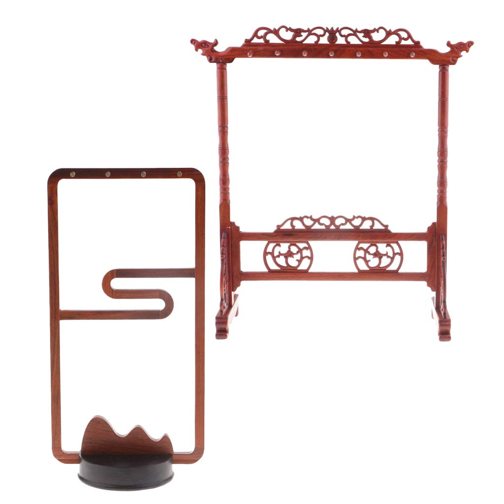 Fityle 2X Calligraphy Brush Wood Holder Sumi Brush Hanger Stand Shelf with 8/14 Pins,Antique Style Bracelet/Necklace Jewelry Organizer Tree Hooks Rack Stand by Fityle