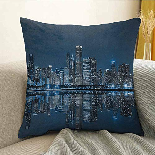 (Chicago Skyline Microfiber Sleeping City Dramatic Urban Resting Popular American Lake Picture Sofa Cushion Cover Bedroom car Decoration W20 x L20 Inch Night Blue Grey)