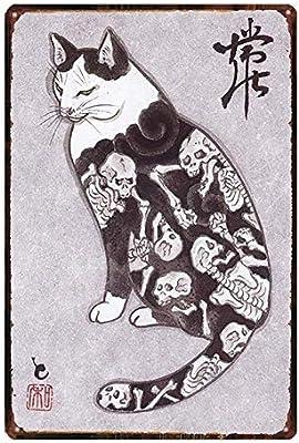 GFGKKGJFD709 - Placa de Pared con diseño de Gato samurái Vintage: Amazon.es: Hogar