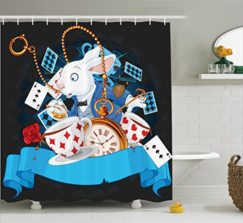 Ambesonne Alice in Wonderland Decorations Shower Curtain Set, Rabbit Amazing with Motion Cups Hearts Rose Flower Character Alice Cartoon, Bathroom Accessories, 75 inches Long, Multi