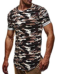 Fashion Men T-Shirt Personality Camouflage Tops Short Sleeve Blouse Casual Pullover Sweatshirt