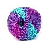 knitting yarns ann hood - RingBuu Wool Blend Yarn Knitting, 1Ball 50g Hand-woven Rainbow Colorful Crochet Cashmere (1#)