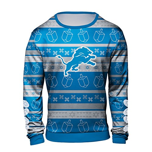 Forever Collectibles Detroit Lions Hanukkah Printed Ugly Crew Neck Sweater - Mens Large