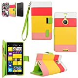 Cellularvilla Nokia Lumia 1520 PU Leather Wallet Card Flip Open Pocket Case Cover Pouch (Pink Yellow)