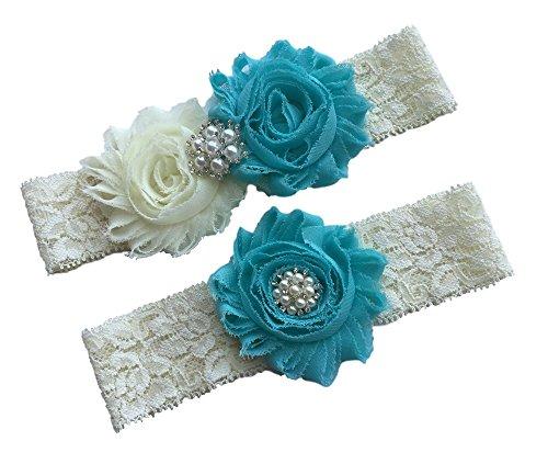 Daddasprincess Wedding Garter Ivory Bridal Lace Garter Set Something Blue Keepsake Toss Away Plus Size Belt Prom (XL: 26-30 inches, Aqua)