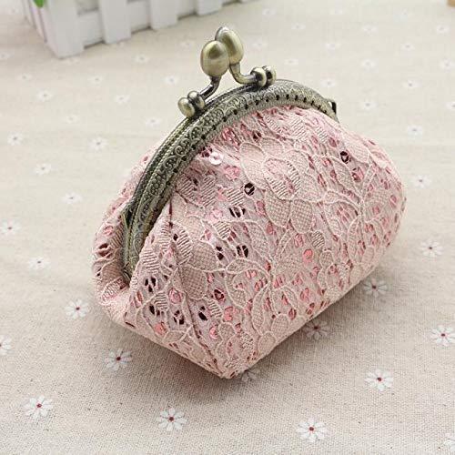 Womens Vintage Antique Retro Coin Change Purse Pouch Wallet Small Kiss Lock Pink Handbag Accessories Victorian 19th Century