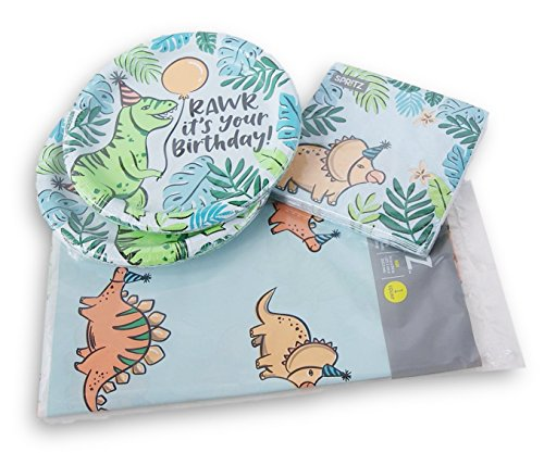 Dinosaur Themed 20 Person Party Supply Kit - Plates, Napkins, Tablecover
