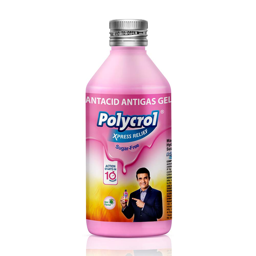 Polycrol, Xpress Relief Antacid Gel Sugar Free Pack of 2, Mint, 400 millilitre