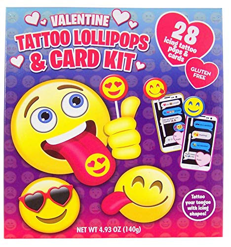 Valentine's Day Emoji Icing Tattoo Lollipops and Cards