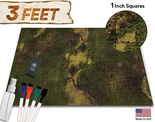 (Battle Grid Game Mat - 36x24 Table Top Role Playing Map - DND Role Play - RPG Dungeons and Dragons Maps Tiles - Reusable Miniature Figure Board Games - Tabletop Gaming Mats (Dark Moss))