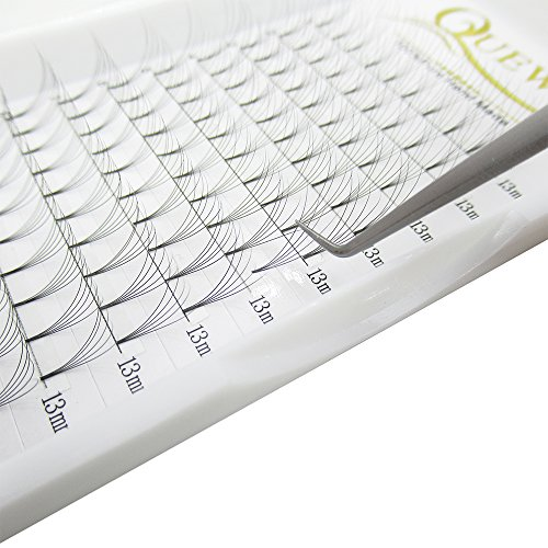 Russian Volume Premade Fans Eyelashes Extension 5D 6D Thickness 0.07/0.10 Curl C/D Length 8-15mm by Quewel(5D-0.07-C, 13mm)