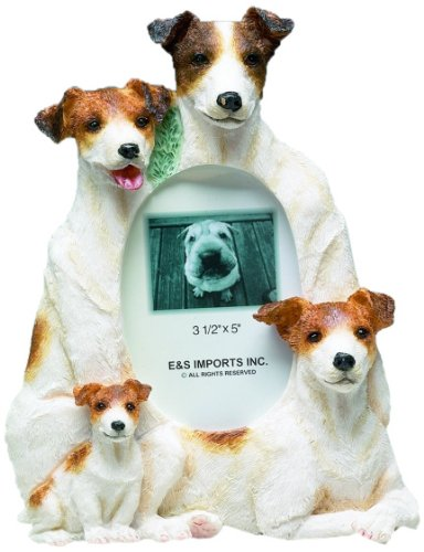 Jack Russell Terrier Picture Frame Holds Your Favorite 3 x 5 Inch Photo,  A Hand Painted Realistic Looking  Jack Russell Terrier Family Surrounding  Your Photo. This Beautifully Crafted Frame is A Unique Accent To Any Home or Office. The Jack Russell Terrier Picture Frame Is The Perfect Gift For Jack Russell Terrier Owners And Lovers!