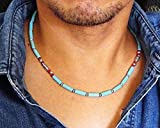 Blue Magnesite Stone and Red Coral Mens Beaded Necklace 18-22 inch - Handcrafted in USA