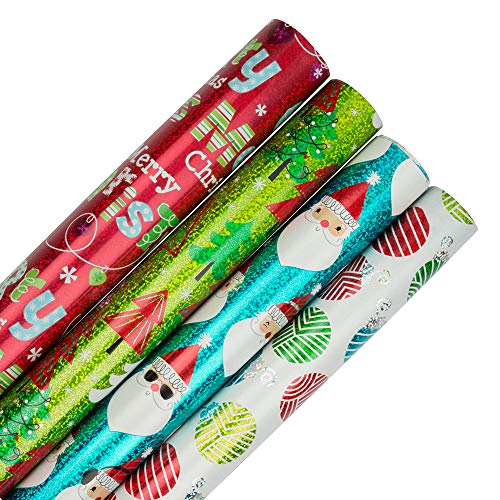 JAM PAPER Assorted Gift Wrap - Christmas Wrapping Paper - 100 Sq Ft Total - Holographic Merry Christmas Set - 4 Rolls/Pack