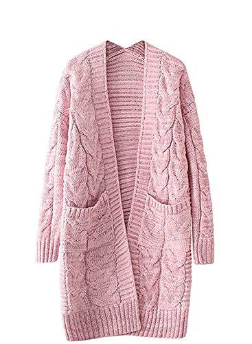 Color Donna Invernali Maglia marca Pantaloni Tasche S Maglia A Pink Due Mode Ruvida Lunga Cappotto Size Cardigan Giacca Maglia Calda A di Lunga Outerwear Manica Casual Dei qtEOq0wg