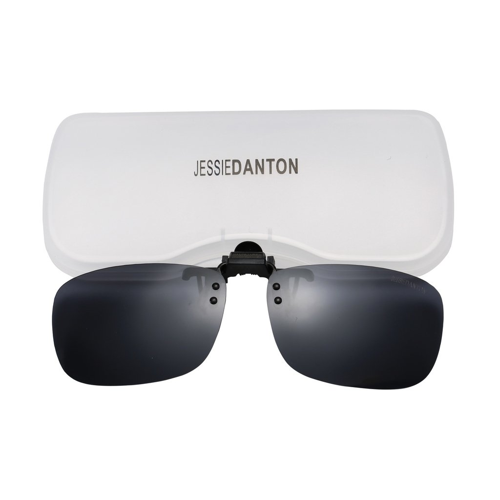 JESSIEDANTON Polarized Clip-on Flip Up Metal Clip Rimless Sunglasses, Lightweight, XL Size, Black Lens by CAXMAN
