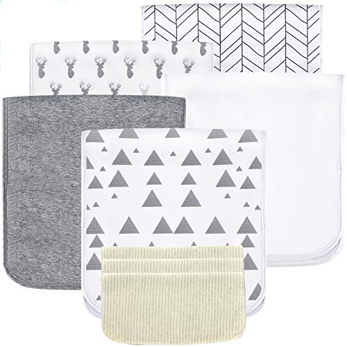 5 Pack Baby Burp Cloths Set - Upgraded Ultra Absorbent 100% Organic Cotton, Soft and Breathable Towels, Larger 21''×10'', Double Layer with 3 Pack Small Baby Washcloths for Newborns, Boys and Girls ()
